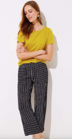 Petite Mixed Stripe Wide Leg Pants